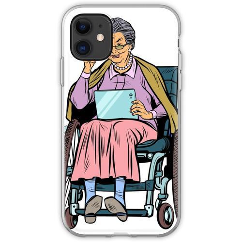 ältere Frau behinderte Person im Rollstuhl Flexible Hülle für iPhone 11