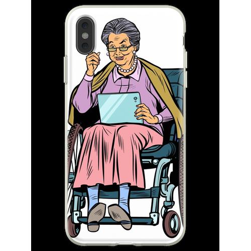ältere Frau behinderte Person im Rollstuhl Flexible Hülle für iPhone XS Max