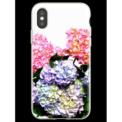 Rosa, lila und blaue Hortensien in Kristallvase Flexible Hülle für iPhone XS