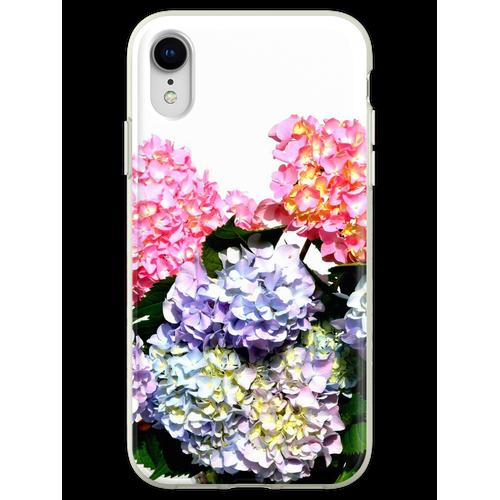 Rosa, lila und blaue Hortensien in Kristallvase Flexible Hülle für iPhone XR