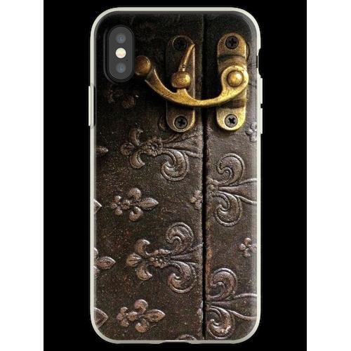 Rustick Antikes Fleur-De-Lis Leder und Schloss Design Flexible Hülle für iPhone XS