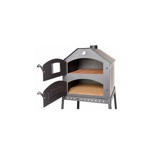 Acerto ® - Profi Pizzaofen für den Garten - 64x63x68 cm mit Gestell Brotofen Steinofen