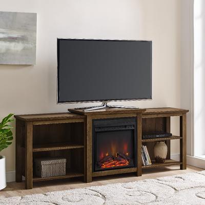 """""""70"""""""" Tiered Top Open Shelf Fireplace TV Console in Reclaimed Barnwood - Walker Edison W70FPTTOPRO"""""""