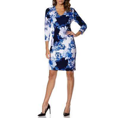 Boston Proper - Floral Scroll-Print Sheath Dress - White/blue Multi - 08
