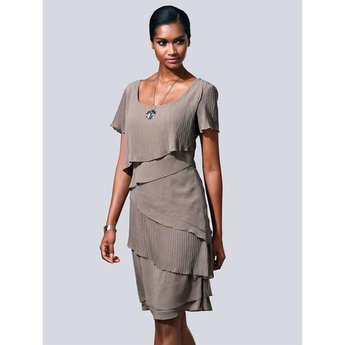 Alba Moda, Kleid in modischem Lagenlook, braun