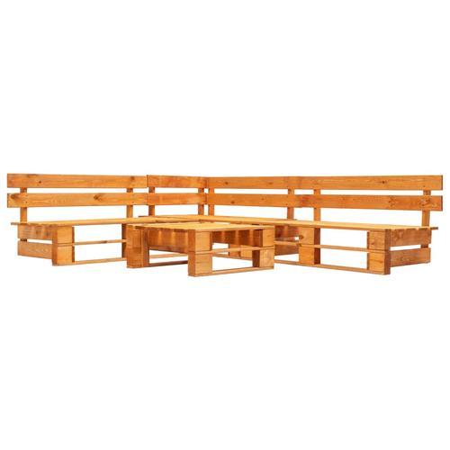 vidaXL 4-tlg. Garten-Paletten-Sofagarnitur Holz Honigbraun