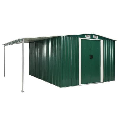 vidaXL Gerätehaus mit Schiebetüren Grün 386×312×178 cm Stahl