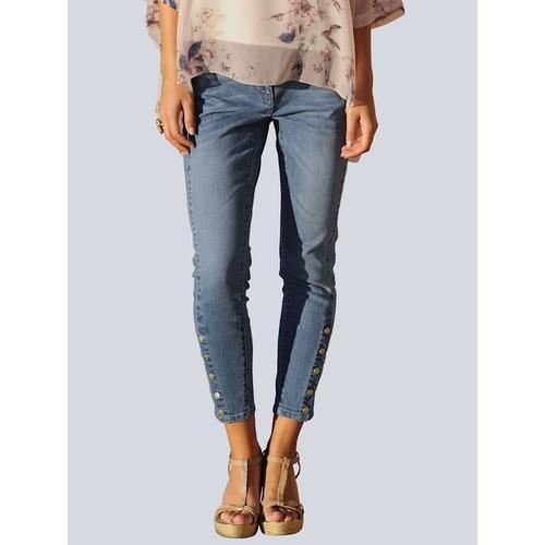 Alba Moda, Skinny Fit Jeans mit Druckknöpfen am Saum, weiß