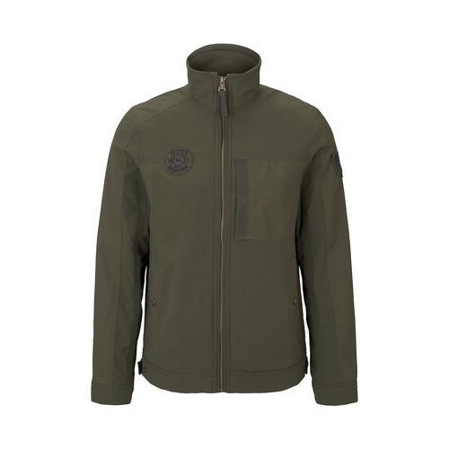 TOM TAILOR Herren Moderne Jacke im Material-Mix, grün, Gr.S