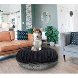 Bessie + Barnie Bagel Bolster Dog Bed w/Removable Cover, Grey/Black, Medium