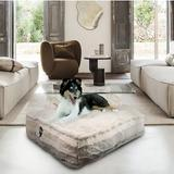 Bessie + Barnie Sicilian Rectangle Pillow Dog Bed w/Removable Cover, Tan, Small