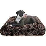 Bessie + Barnie Frosted Willow Deluxe Pillow Cat & Dog Bed w/Removable Cover, Brown/Gray, Large