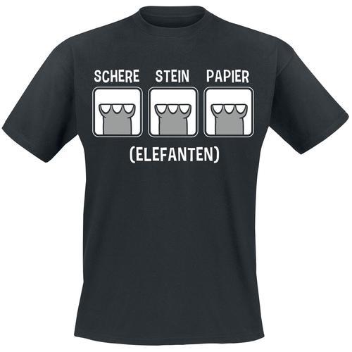 Elefanten Schere, Stein, Papier Herren-T-Shirt - schwarz