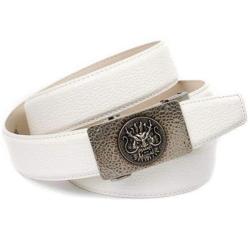 Anthoni Crown Ledergürtel, mit stilisierter Schließe weiß Damen Ledergürtel Gürtel Accessoires