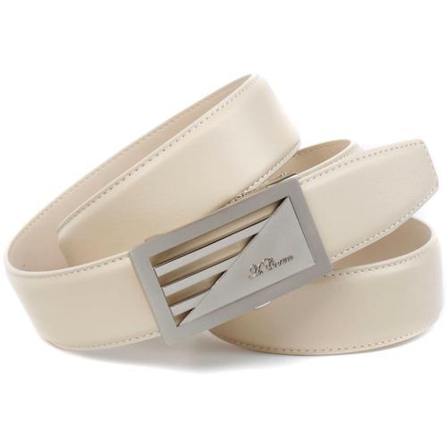 Anthoni Crown Ledergürtel, Automatik Schließe im Streifen-Design beige Damen Ledergürtel Gürtel Accessoires