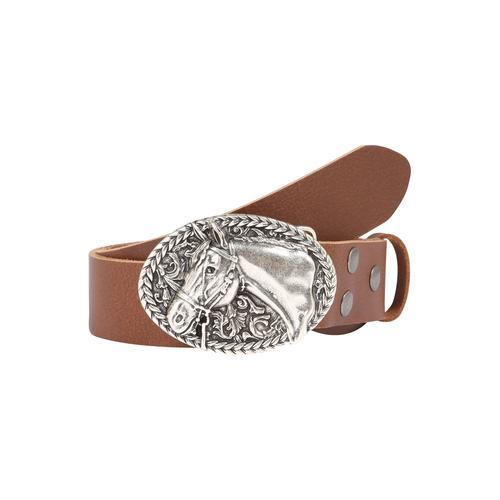 RETTUNGSRING by showroom 019° Ledergürtel, mit schicker Pferdemotivschließe braun Damen Ledergürtel Gürtel Accessoires