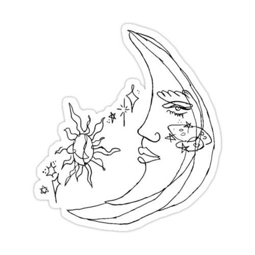 moon tattoo Sticker