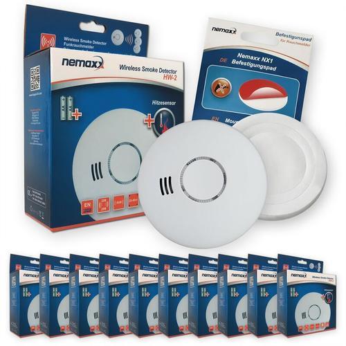 10x HW-2 Funkrauchmelder Rauchmelder Hitzemelder mit kombiniertem Rauch- und Thermosensor nach DIN