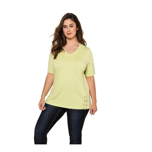 Große Größen T-Shirt Damen (Größe 46 48, zitronengras) | Ulla Popken T-Shirts | Baumwolle, V-Ausschnitt