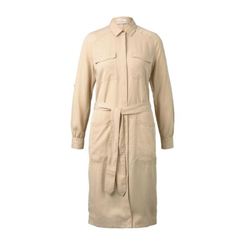 TOM TAILOR Damen Kleid mit Bindegürtel, beige, Gr.40