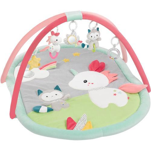 Fehn Spielbogen Aiko & Yuki 3-D-Activity-Decke, mit Krabbeldecke bunt Kinder Activity Center Trapeze Baby Kleinkind