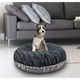 Bessie + Barnie Signature Extra Plush Faux Fur Animal Print Bagel Dog & Cat Bed, Grey/Gravel Stone, X-Small