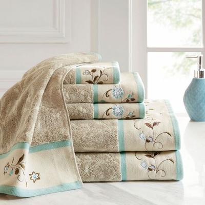 Floral Serenity Bath Towel Set Pastel Blue Six Piece Set, Six Piece Set, Pastel Blue
