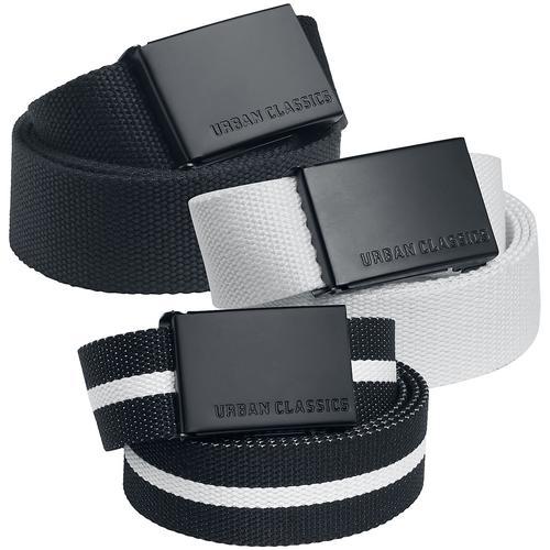 Urban Classics Canvas Belt 3er Pack Gürtel - schwarz weiß