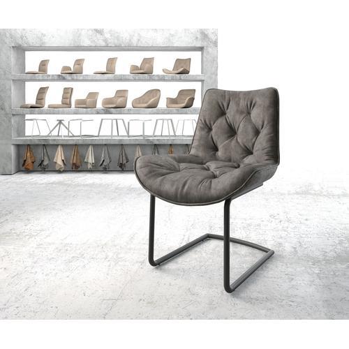 DELIFE Esszimmerstuhl Taimi-Flex Anthrazit Vintage Freischwinger rund schwarz, Esszimmerstühle