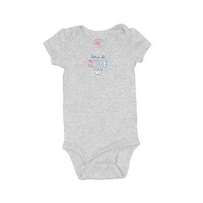 Carter's Short Sleeve Onesie: Gray Print Bottoms – Size 6 Month