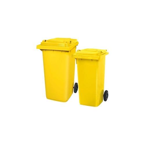 BRB Set mit 1x DIN Mülltonne 120 Liter gelb und 1x DIN Mülltonne 240 Liter gelb
