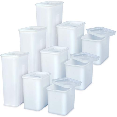 BRB Set mit 9X Vorratsbehälter mit Deckel, weiß, PE-HD, Gastronomiequalität, 3X 2 Liter, 3X 3 Liter, 3X 5 Liter