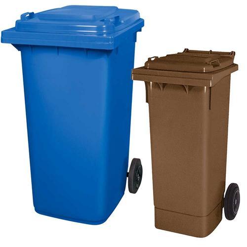 BRB Set mit 1x DIN Mülltonne 80 Liter braun und 1x DIN Mülltonne 240 Liter blau