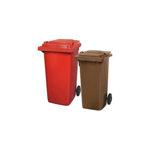 BRB Set mit 1x DIN Mülltonne 120 Liter braun und 1x DIN Mülltonne 240 Liter rot