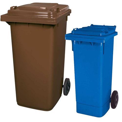 BRB Set mit 1x DIN Mülltonne 80 Liter blau und 1x DIN Mülltonne 240 Liter braun