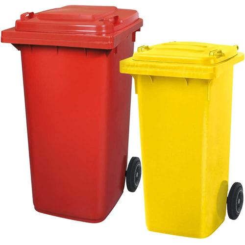 BRB Set mit 1x DIN Mülltonne 120 Liter gelb und 1x DIN Mülltonne 240 Liter rot