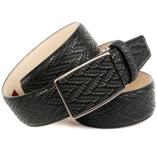 Anthoni Crown Ledergürtel, in geflochtener Optik schwarz Damen Ledergürtel Gürtel Accessoires