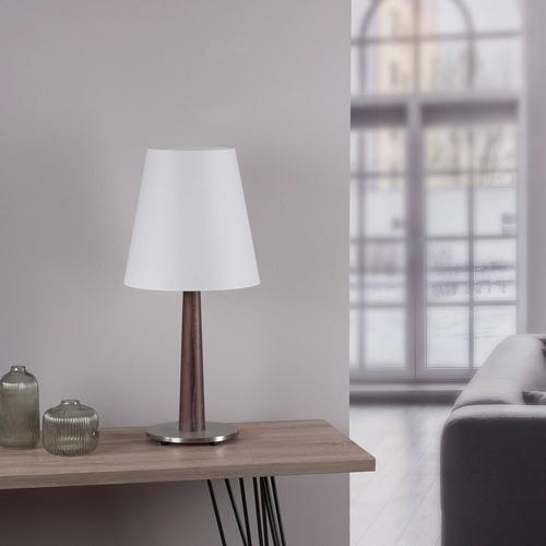 Lucande Elif Tischlampe weiß, konisch Eiche dunkel