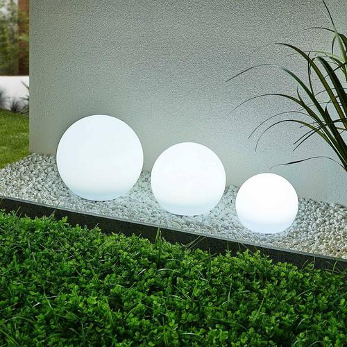 Lindby Lago LED-Solarlampen RGBW, 3er-Set Kugeln