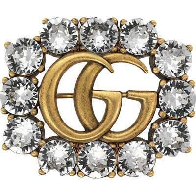 Gucci Broche Double G en métal avec cristaux