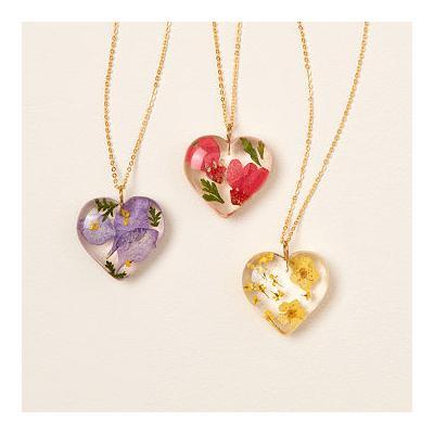 Birth Month Flower Heart Necklace