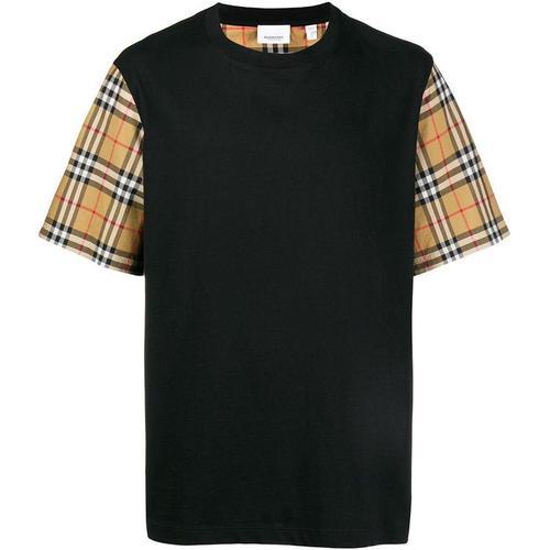 Burberry T-Shirt mit karierten Ärmeln