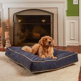 Happy Hounds Bailey Rectangle Pillow Dog Bed w/ Removable Cover, Denim, Large