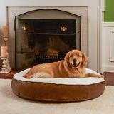 Happy Hounds Scooter Deluxe Round Pillow Dog Bed w/ Removable Cover, Latte, Large