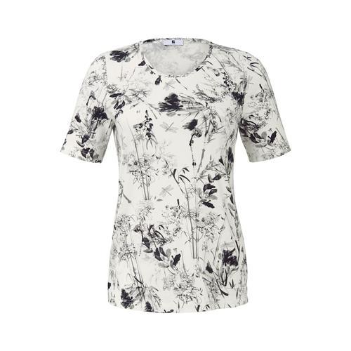 Shirt mit Blumenmuster Rispen Anna Aura weiß/schwa