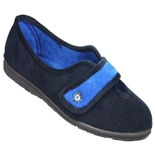 Mirak Hausschuh Andrea Damen e mit Klettverschluss blau Pantoletten Hausschuhe