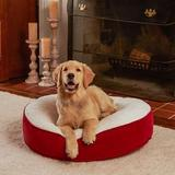 Happy Hounds Scooter Deluxe Round Pillow Dog Bed w/ Removable Cover, Crimson, X-Small