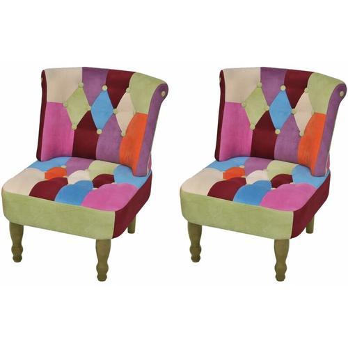 Französischer Sessel mit Patchwork-Design Stoff 2 Stk.