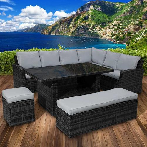 Polyrattan Sofa Essgruppe ECO schwarz/grau
