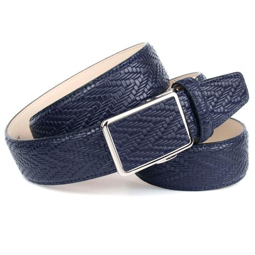 Anthoni Crown Ledergürtel, Flecht-Optik, Leicht bombiert blau Damen Ledergürtel Gürtel Accessoires